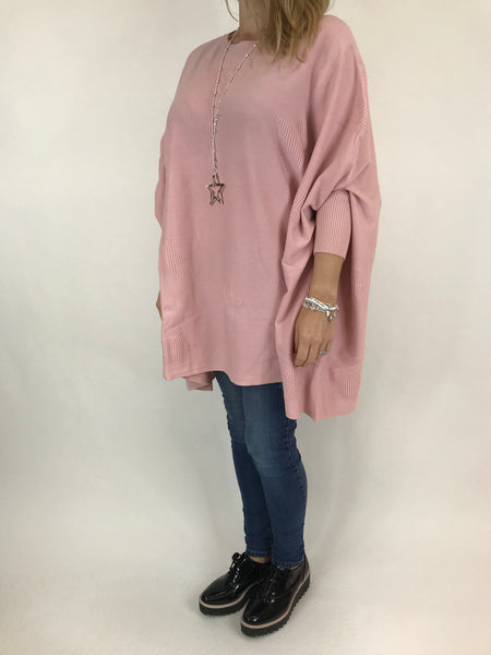 Lagenlook Calia Star Poncho Knit in Pale Pink. code 47352