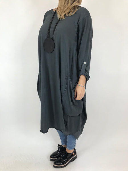 Lagenlook Alicia Pocket Tunic in Charcoal Grey .code 5626