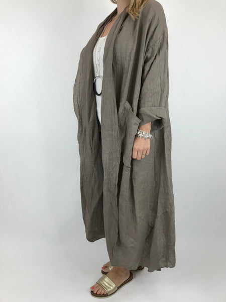 Lagenlook Patti Linen Jacket in Mocha. code 5876