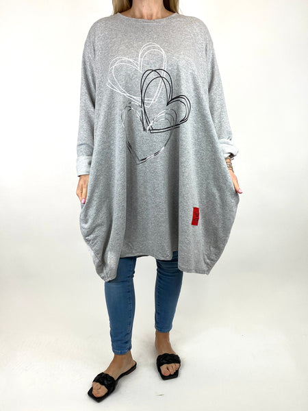 Lagenlook Heart Beats sweatshirt in Grey. code 91191 - Lagenlook Clothing UK