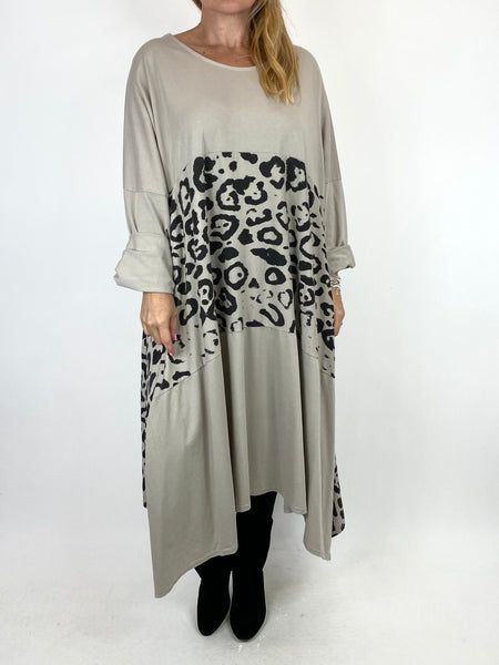 Lagenlook Chrissy Cheetah Panel Tunic in Cream. code 10356 - Lagenlook Clothing UK