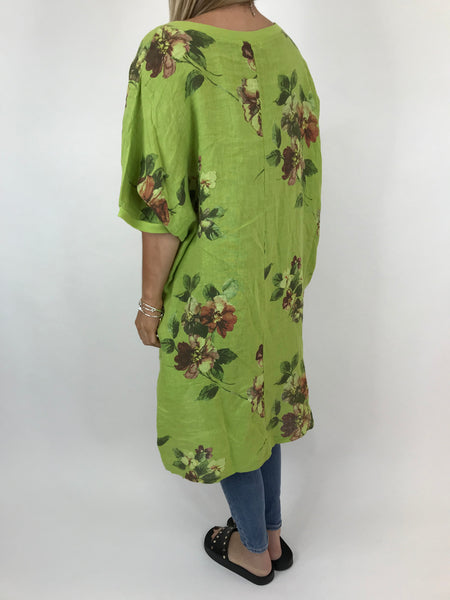 Lagenlook Nikki Summer Flower Tunic in Lime. code 9618