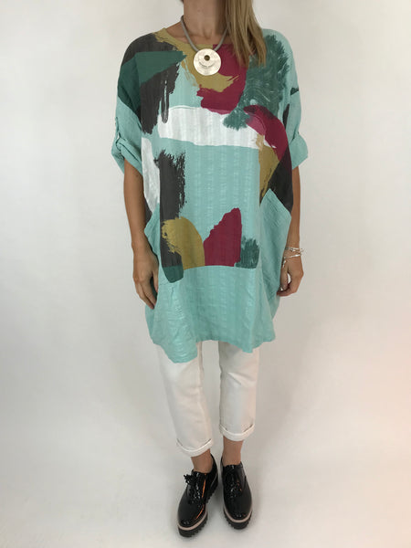Lagenlook New Paint Splatter Top in Mint . code ws9763