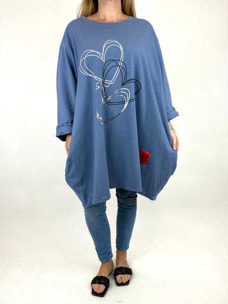 Lagenlook Heart Beats sweatshirt in Denim. code 91191 - Lagenlook Clothing UK