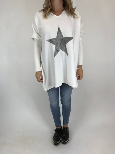 Lagenlook Kiana Star knit Jumper in White code 609