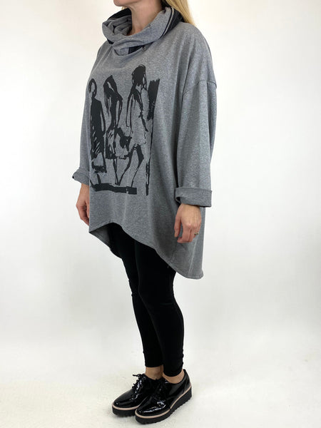 Lagenlook Pass-By Zip Hood Top in Grey Marl. code 91152