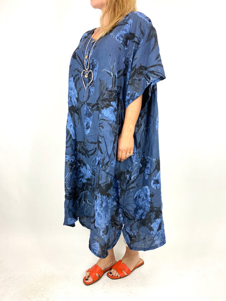 Lagenlook Carrie Button Flower Linen 30UK Size Top in Denim Blue. code 2149