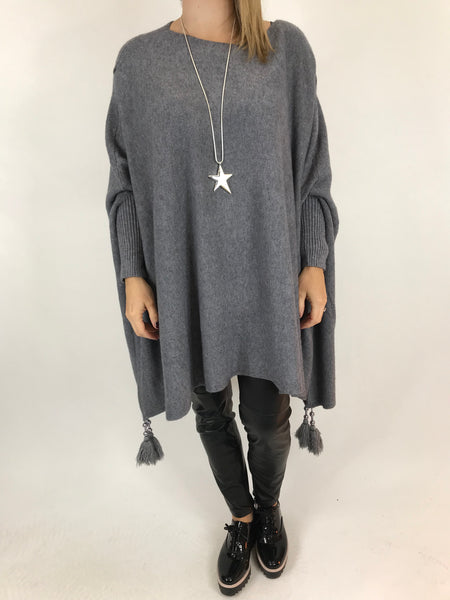 Lagenlook Ella Tassel Jumper in Grey. code 2700 - Lagenlook Clothing UK