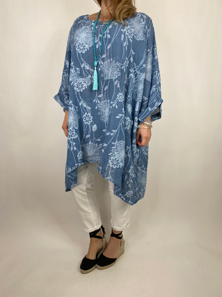 Lagenlook Rachel Flower Top In Denim. code 6363