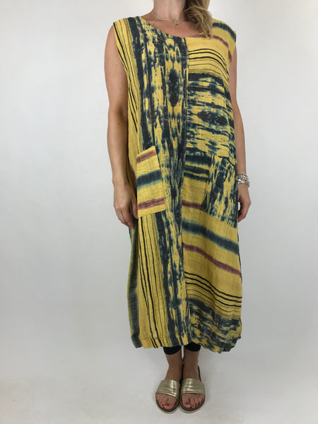 Lagenlook New Age Tie Dye tunic in Yellow. code 90947