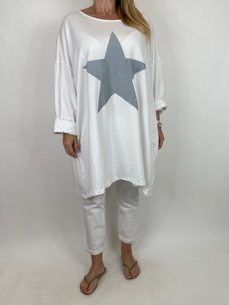 Lagenlook Solo Star Print Sweatshirt Top Tunic in White. Code 9482 - Lagenlook Clothing UK