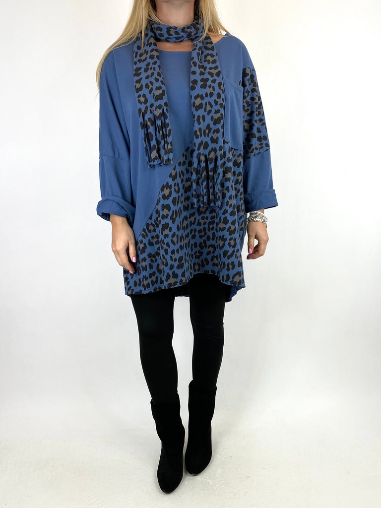 Lagenlook Zena Leopard Print Scarf Top in In Denim code 10306