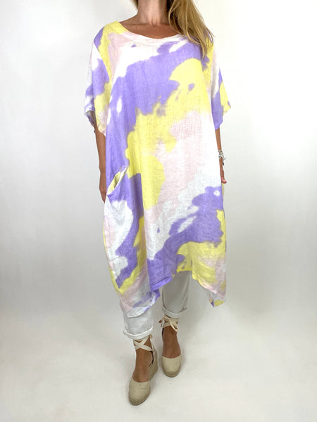 Lagenlook Spray Linen Tunic in Lilac Mix. code 90847