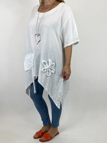 Lagenlook Kim Waffle Flower Pocket Top in White. code 91086 - Lagenlook Clothing UK