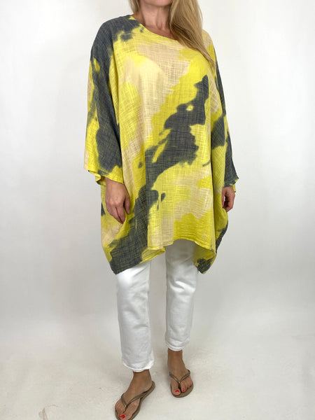Lagenlook  Splash Top in Yellow . code 91006S - Lagenlook Clothing UK