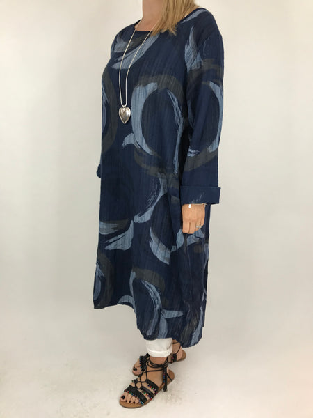 Lagenlook Sarah Swirl Tunic in Navy. code 5665