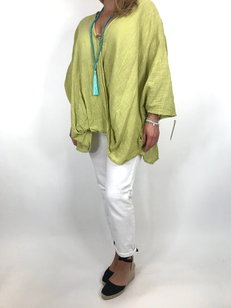 Lagenlook Linen Wrap Top in Lime. code 2087