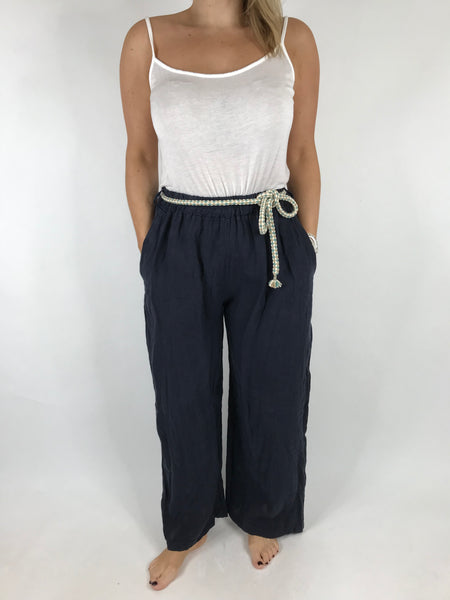 Lagenlook Polly Slim leg Linen Trousers in Navy. code 7354