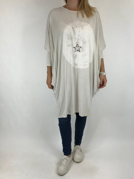 Lagenlook Tie Dye Orb Jersey Tunic in Cream. code 15962
