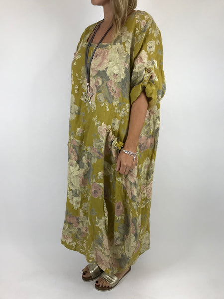 Lagenlook Floral Sleeved Linen Tunic in Mustard . code 5314