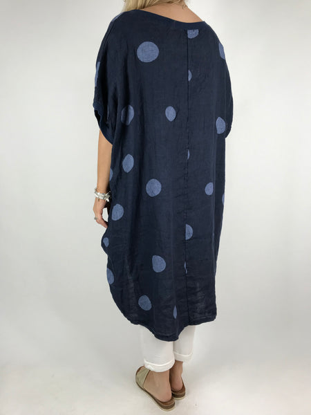 Lagenlook Lara  Dot Linen Tunic in Navy .code 5868