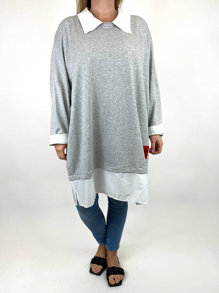 Lagenlook Cassie Cotton Shirt Top in Grey. code 91205 - Lagenlook Clothing UK