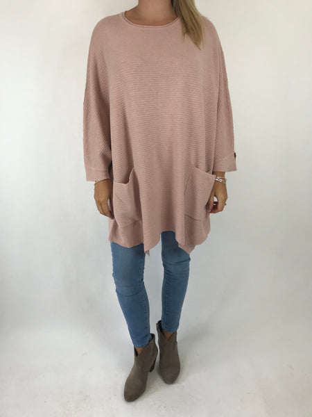 Lagenlook Lola Oversized Jumper In Winter Pink. code 5361