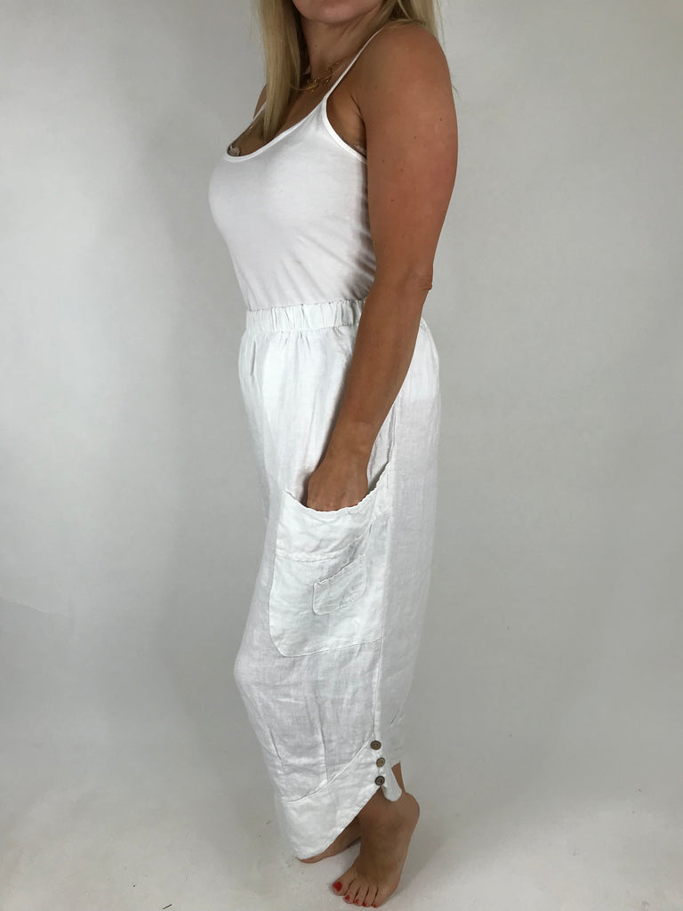 Lagenlook Cropped Linen Trouser in White. code 5229