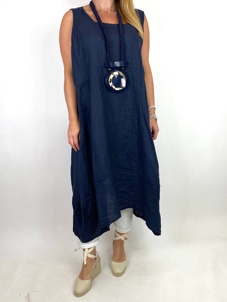 Lagenlook Bella Linen Square neck tunic in Navy. code 8262