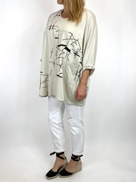 Lagenlook Delta Print Cotton Top in Cream. code 6556