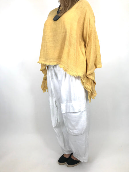 Lagenlook Raw Edge Short Linen layering top in Yellow. code 02246