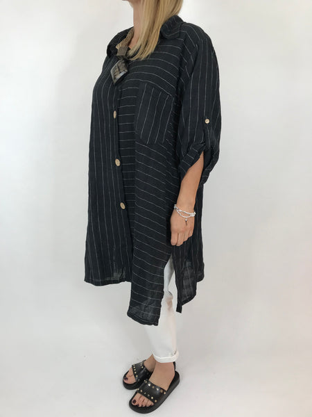 Lagenlook Dele Cotton Shirt in Black. Code 90873