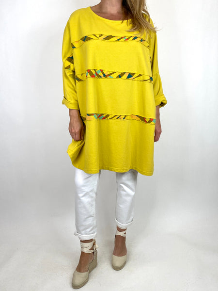 Lagenlook Banks Stripe sweatshirt Top in Yellow. code 10317