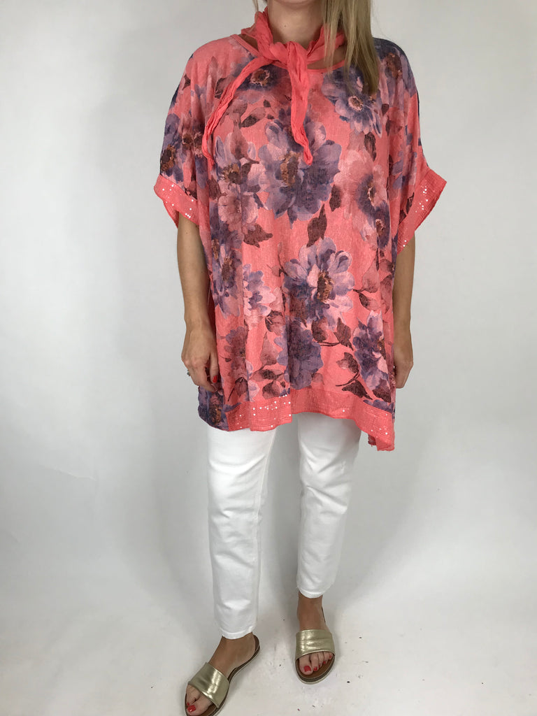 Lagenlook Isla Scarf Top in Coral . code 5202