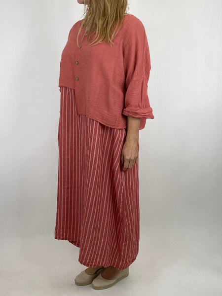 Lagenlook Lucy Stripe Over tank Tunic in Coral. Code 88213
