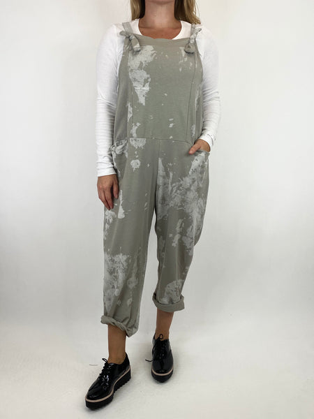 Lagenlook Dakota Tye-dye Made in Italy Dungarees in stone.code 6777TD - Lagenlook Clothing UK