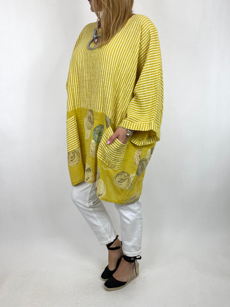 Lagenlook Mimi Stripe and Dot Cotton Top in Yellow. code 10389