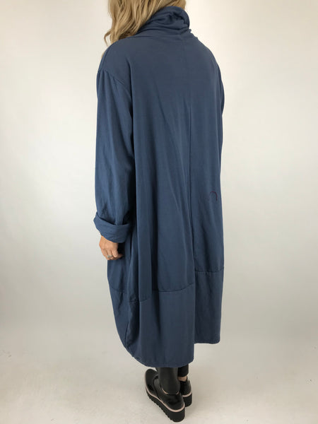 Lagenlook Made in Italy Drawstring cowl Neck Tunic in Denim. code 5502