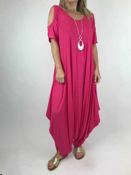 Lagenlook Made in Italy Jersey Jump Suit in Fuchsia Pink. code 1544