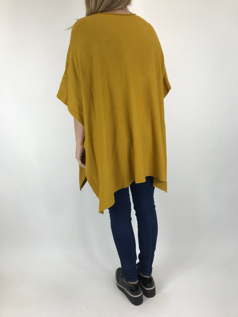 Lagenlook Cable Poncho Jumper in Mustard. code 5939