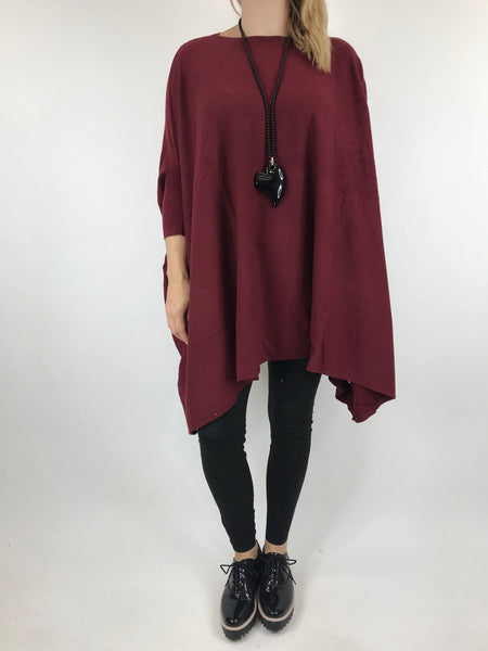 Lagenlook Abi Oversized Jumper in Wine. code 4735