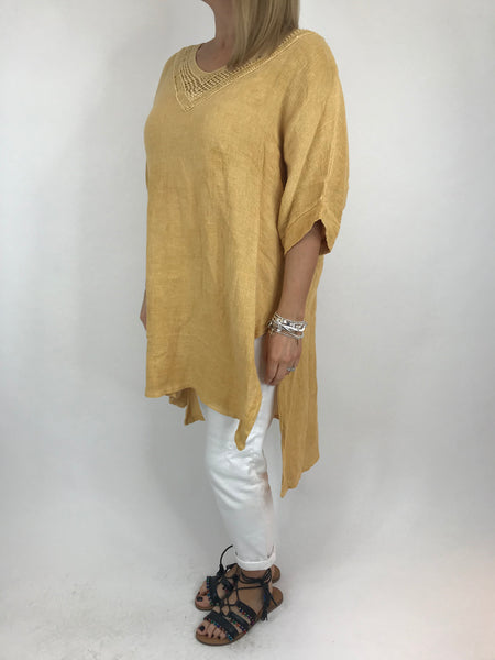 Lagenlook Stella Sequin Neck Summer Top in Sunset Yellow. code 8394