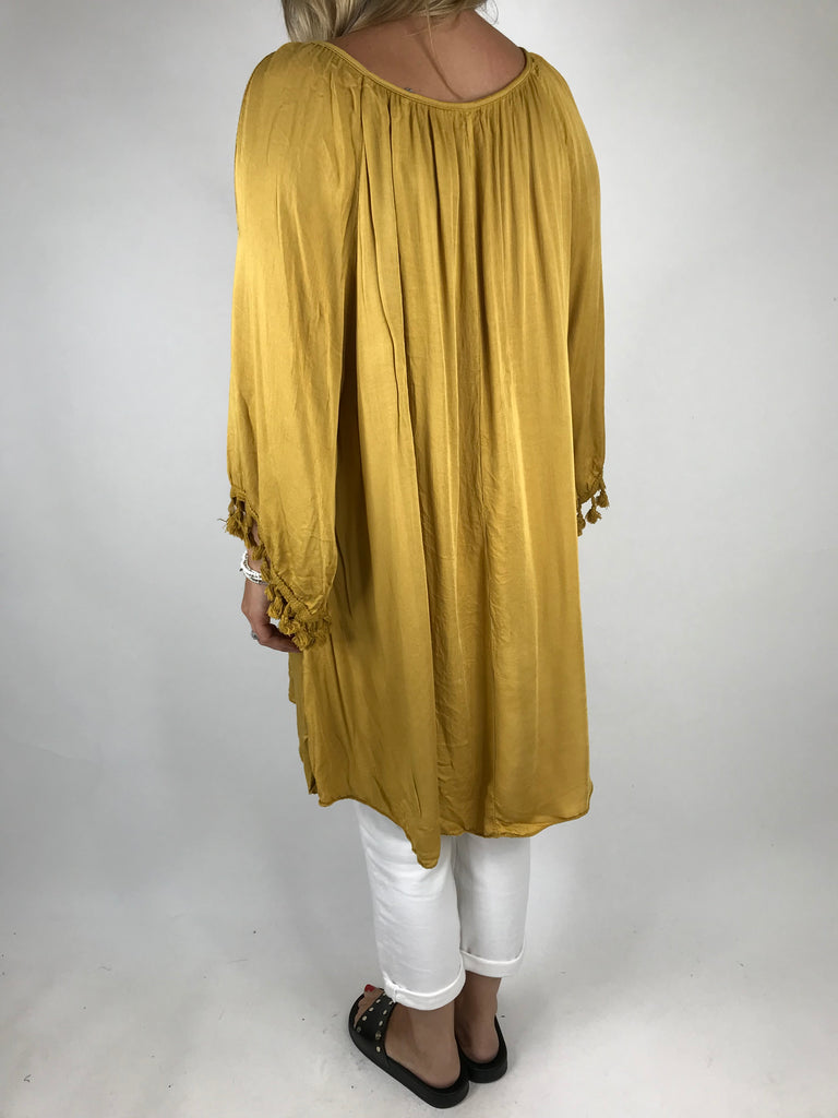 Lagenlook Layla Summer Tassel Top in mustard. Code 5241