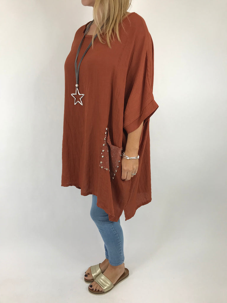 Lagenlook Stud Pocket Cotton Top in Rust . code 5898