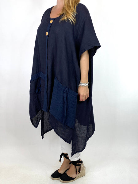 Lagenlook Tara 2 Button Linen Waffle Top in Navy .code 91085