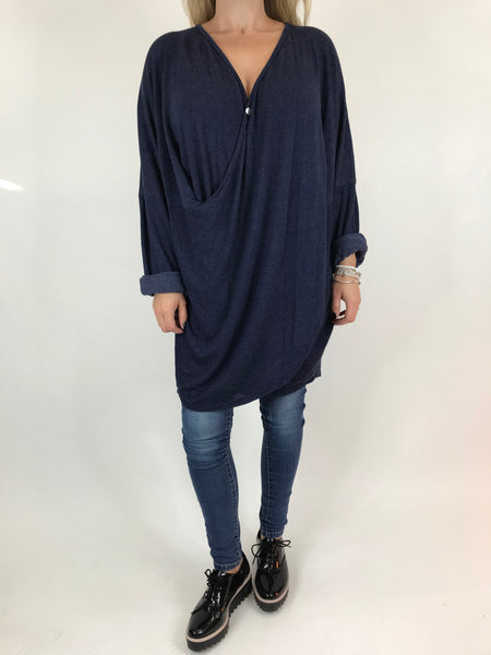 Lagenlook Katie Cross-over Button Jumper in Navy. code 2093