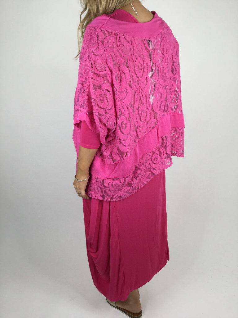 Lagenlook Lace Poncho Top in Fuchsia Pink .code 1452
