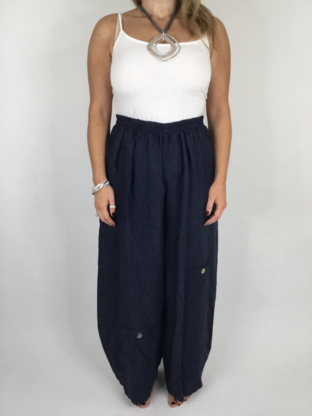 Lagenlook Wide leg Linen Trousers in Navy. code 6151