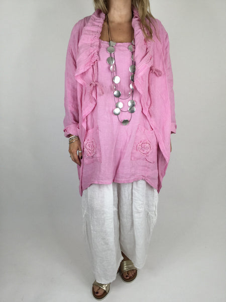 Lagenlook Drawstring Linen Jacket in Pink. code 181
