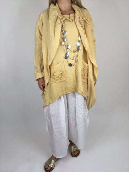 Lagenlook Drawstring Linen Jacket in Yellow . code 181